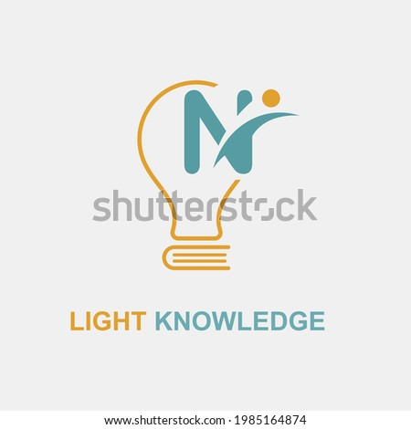 N Initial Letter Simple Modern Education Academy Logo template with Lamp Bulb and Book Icon. Smart, knowledge and science business logo concept Foto stock ©
