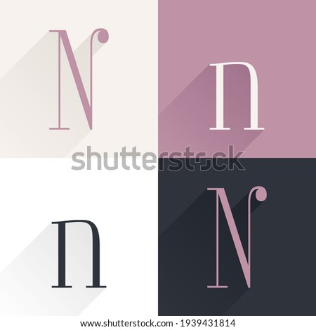 N letter condensed serif font set. Perfect to use in elegant branding, luxury logo, wedding invitation, classic layout and more. Foto stock ©
