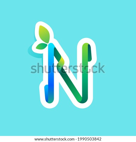 N letter flow line eco logo with green leaves. Vector green icon perfect to use in your agriculture labels, science posters, spring advertising campaign. Foto stock ©