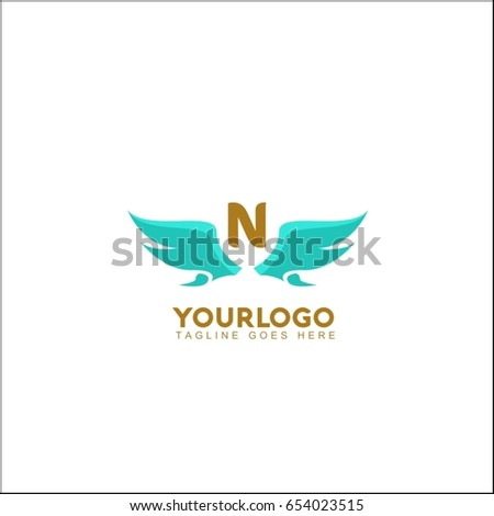 n letter flying bird isolated swoosh stylise abstract birds