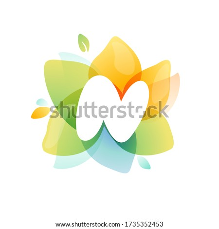 N letter logo at colorful watercolor flower. Perfect font for invitation design, textile print, greeting card etc. Foto stock ©