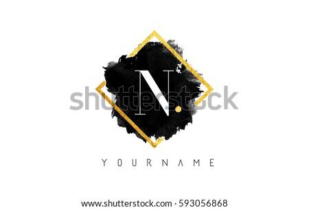 N Letter Logo Design with Black ink Stroke over Golden Square Frame.