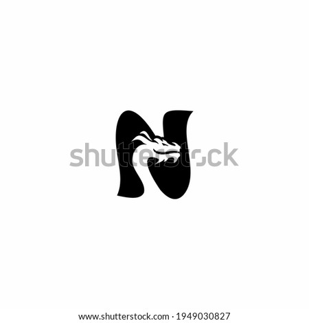 N Letter logo icon with dragon icon design vector illustration Stock fotó ©