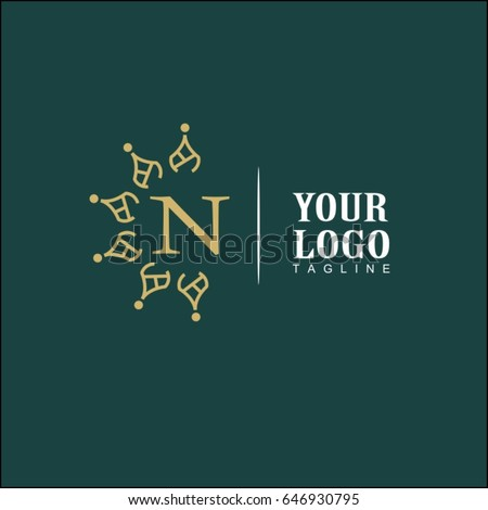 n letter luxury logo simple