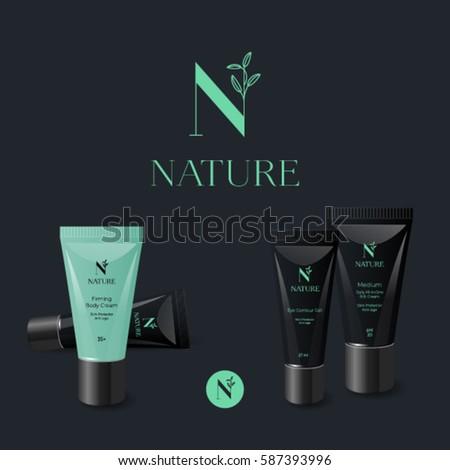 N letter. monogram. Nature logo. Green letter with leaves on a dark background. Branded cream tubes.