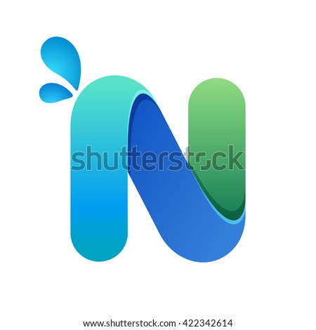 N letter with water waves and drops. Font style, vector design template elements for your ecology application or corporate identity. Foto stock ©