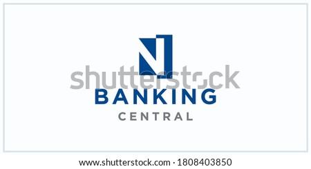 N negative squared space. banking center logo