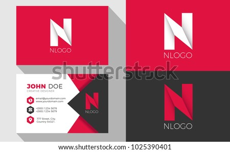 N Origami Style Letter Logo With Professional Business Card Foto stock ©