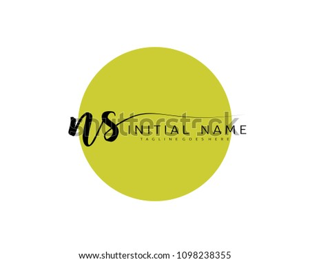 N S Initial handwriting logo vector. Hand lettering for designs.