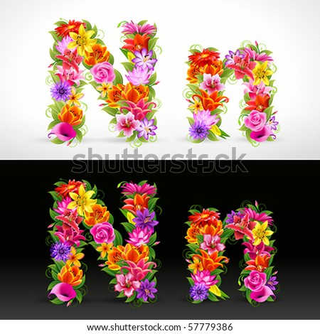 N, vector colorful flower font
