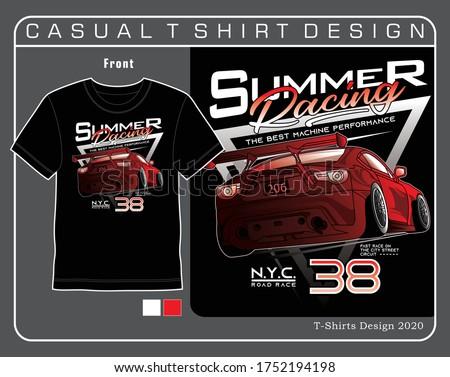 n.y.c. road race summer,vector car typography design illustration for t shirt Foto stock ©