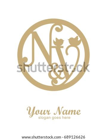 N Y initial wedding decorative logo template Stok fotoğraf ©