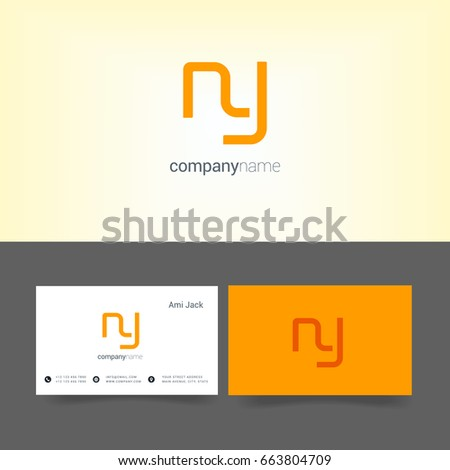 N Y joint logo letter design with business card template Stok fotoğraf ©