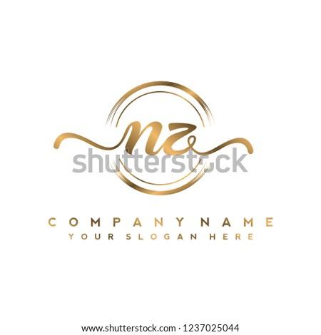 N Z Initial handwriting logo vector Stock fotó ©