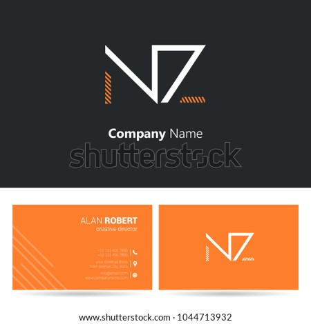 N & Z joint logo stroke letter design with business card template  Stock fotó ©