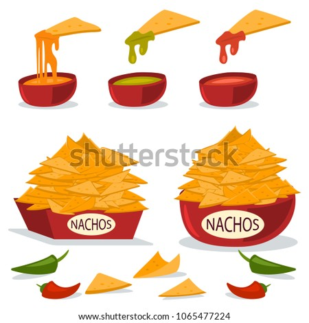 Nachos in a plate with cheese, chili and guacamole sauces. Vector cartoon flat illustration of Mexican food isolated on white background.