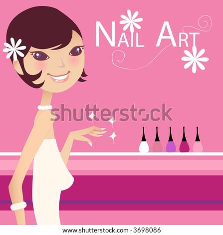 nail art - stock vector