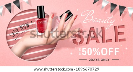 Nail lacquer sale ads with a hand holding products, lovely pink background with party flags.