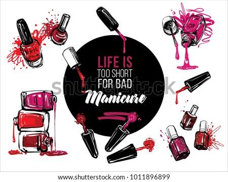 Nail Polish Bottles Banner Design Set Vector Fashion Sketch Manicure Salon Watercolor Illustration Poster
