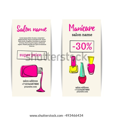 Nail polish flyer. Vector set of manicure voucher or coupons. Design for beauty salon or nail artist. Isolated collection of fashion templates. Colorful sketchy style. Hand drawn illustration. EPS10.