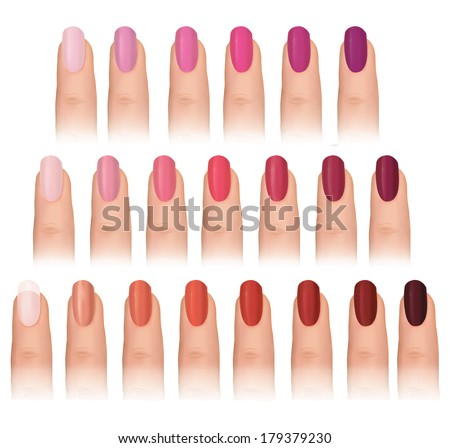 Nail polish in different fashion colors Nail care set Manicured finger isolated