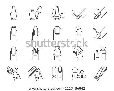Nail polish salon icon set. Included the icons as finger, toe separator, coat, remover pad, glaze, paint, nail art and more