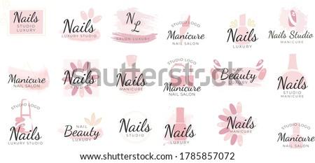 Nail studio logo design set, creative templates for nail bar, beauty salon. manicurist technician vector Illustrations on a white background. elegant clean minimal feminine logo templates. Photo stock ©