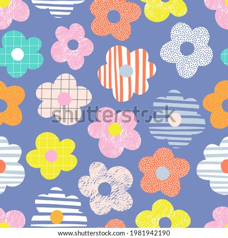 Naive childish textured flower in vibrant rainbow colours vector seamless pattern. Summer floral Scandinavian nursery print design Stock photo ©