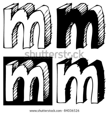 M Alphabet In 3d naive 3D alphabet  childlike