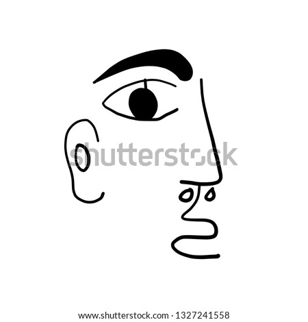 Naive minimalist abstract face in modern style. Graphic simple contemporary human portrait. Clipart decorative elements. Lines logo.