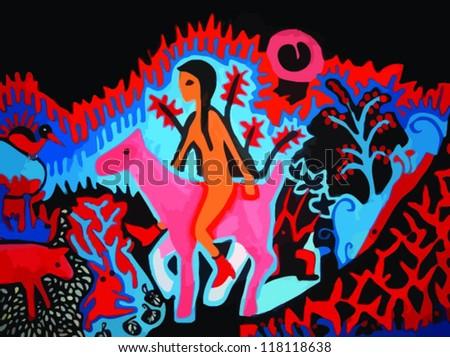 naked girl riding horse with animals, flowers