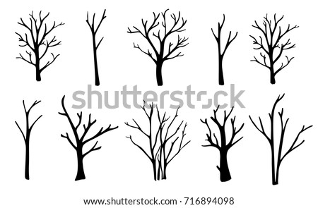 naked trees silhouettes set