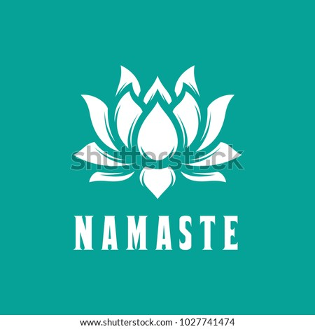 Namaste sign. Hello in hindi. Lotus flower isolated on turquoise background. Motivational positive quote. Yoga center emblem. Vector vintage illustration.