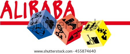 """Name """"ALIBABA"""" with cubes designed for logo use"""