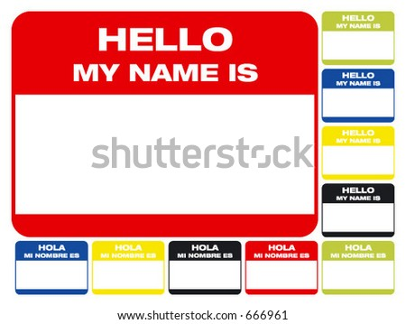 name card. hello,  my name is... (hola, mi nombre es..)