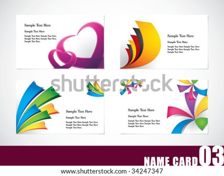Name card template set 03 - stock vector