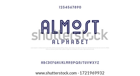 name is ALMOST alphabet, rustic font with line in the middle
