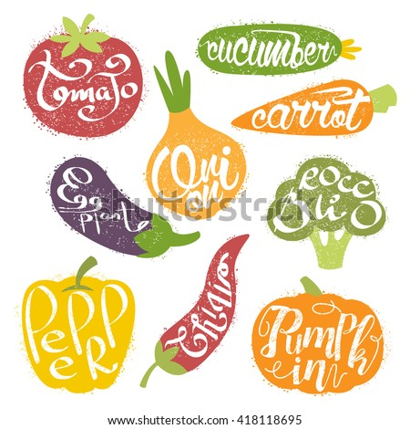Names OF Fruits In Fruit Shaped Frame Collection Of Colorful Trendy Vector Design Stickers Isolated On White Background