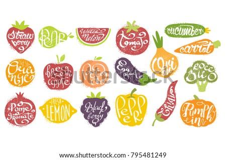 Names OF Fruits In Fruit Shaped Frame Set