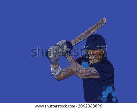 Namibia Cricket Batter In Playing Pose With Line Pattern On Blue Background.