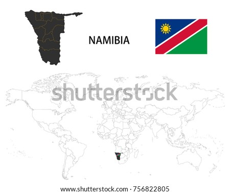 namibia map on a world map with