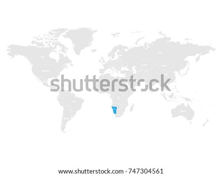 Namibia marked by blue in grey World political map. Vector illustration.