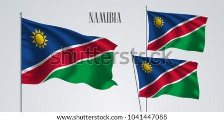 namibia waving flag set of