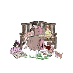 Nanny with children of kindergarten age reading book. Mother of many kids with rabbit sitting on wooden bench in the summer outdoors with puppy. Illustration for children's book