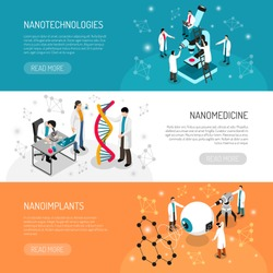 Nano technologies set of isometric horizontal banners with scientific research, medical development isolated vector illustration