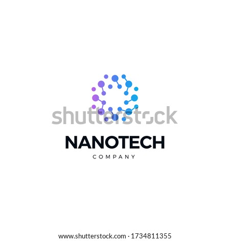 Nano technology logo. Atomic structure logotype. Round scientific laboratory innovation icon. Genetic research. Isolated chemical, molecular connections. Biotechnology vector illustration.