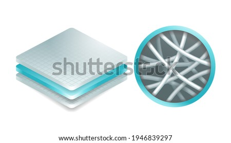 Nanofiber icon - textile fibers with diameters in nanometer range, generated from different polymers with different physical properties. Membrane isometric 3D emblem. Vector illustration Foto stock ©