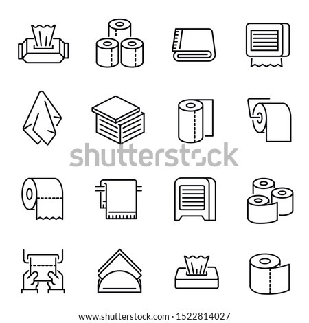 Napkins and toilet paper vector linear icons set. Bathroom accessories thin line illustrations pack. Toilet hygiene goods. Disposable napkin, towel, lavatory paper roll isolated clipart collection stock photo