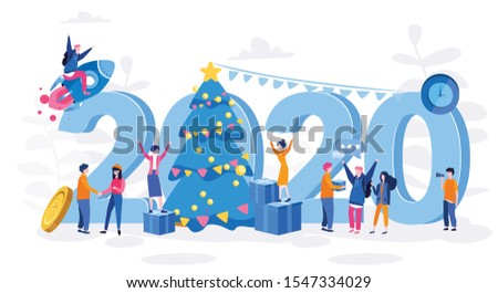 Nappy New Year, 2020 - year of opportunities, big perspectives, innovation technologies, business people celebrating. Vector illustration.for web banner, infographics, mobile website.