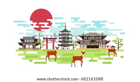 nara park summer landscape with